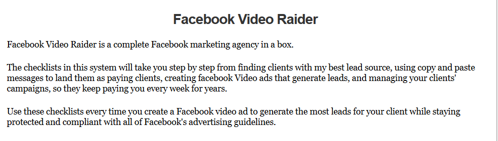 Facebook Video Raider Review